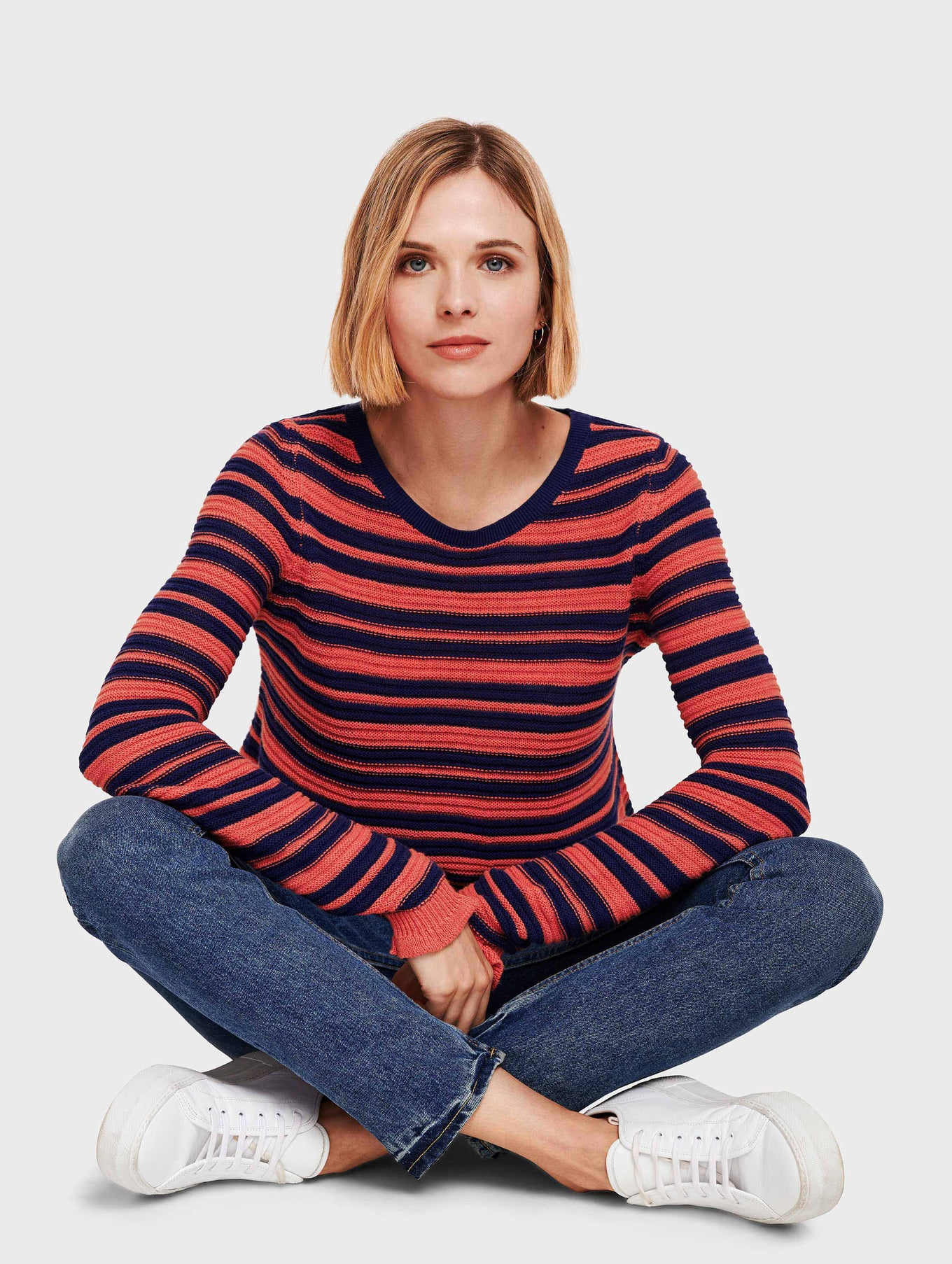 Cotton Slub Striped Swing Open Crewneck - Ocean/Rose - Image 1