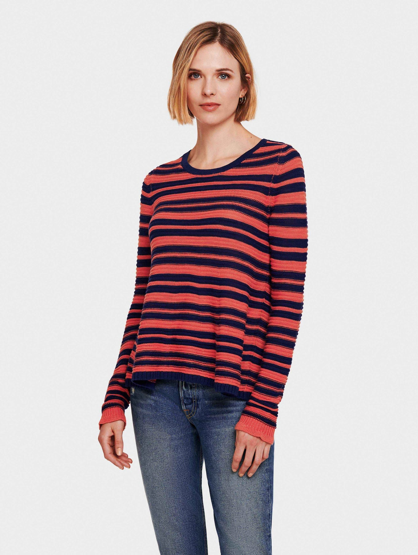 Cotton Slub Striped Swing Open Crewneck - Ocean/Rose - Image 2
