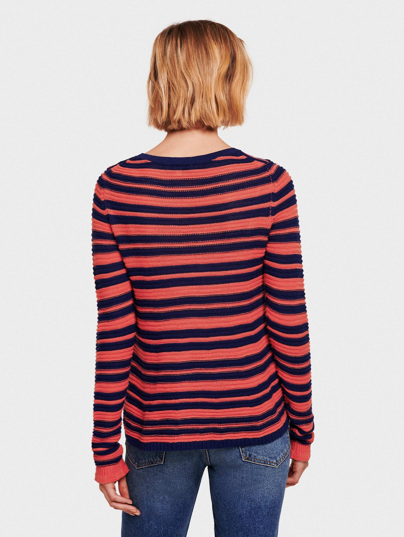 Cotton Slub Striped Swing Open Crewneck - Ocean/Rose - Image 3