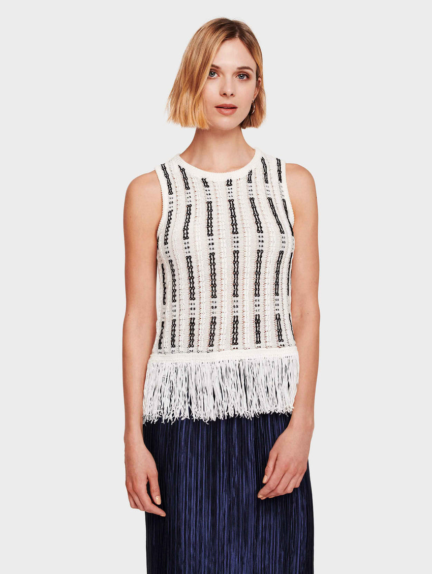 Mid Gauge Cotton Fringe Detail Tank - White/Black - Image 2