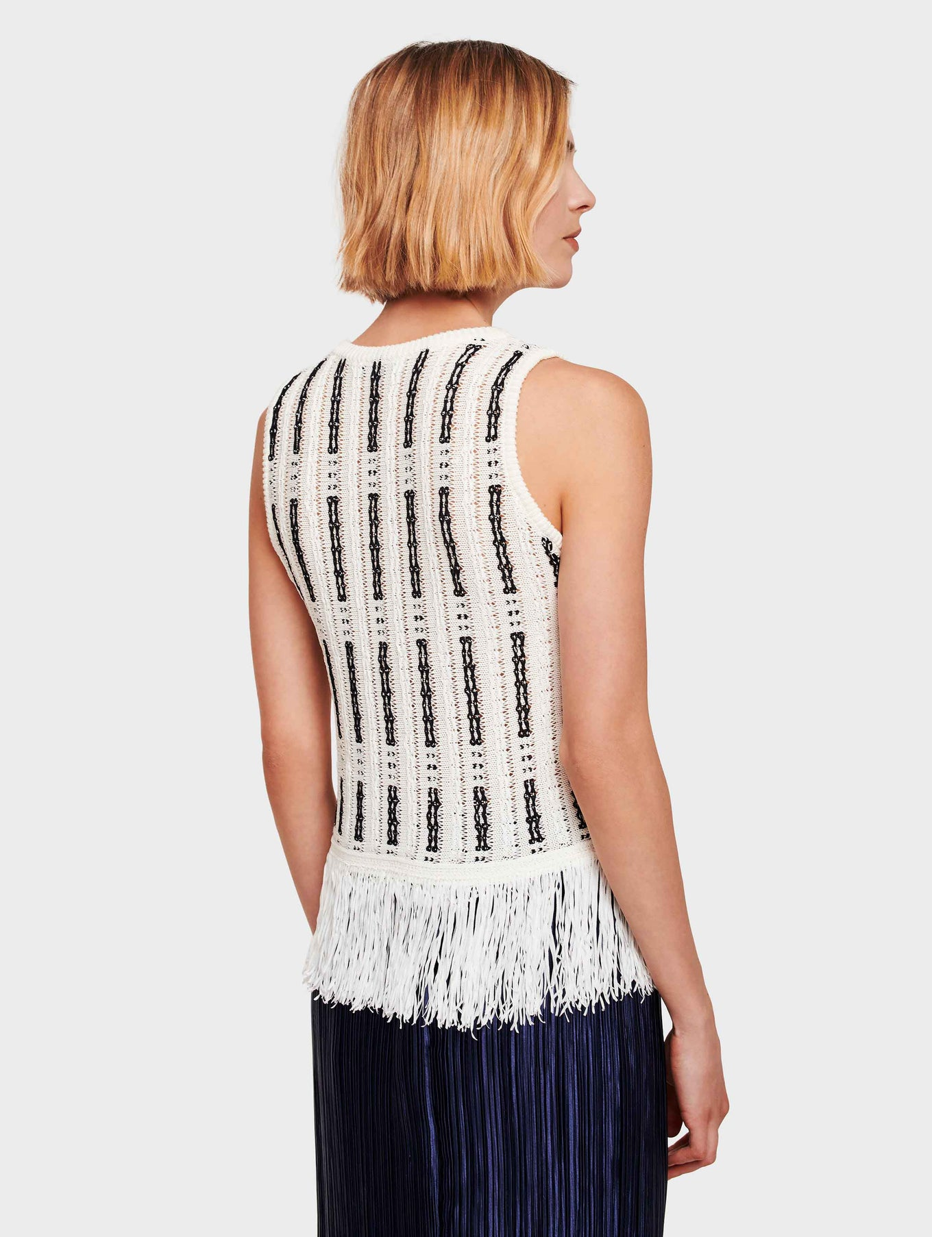 Mid Gauge Cotton Fringe Detail Tank - White/Black - Image 3