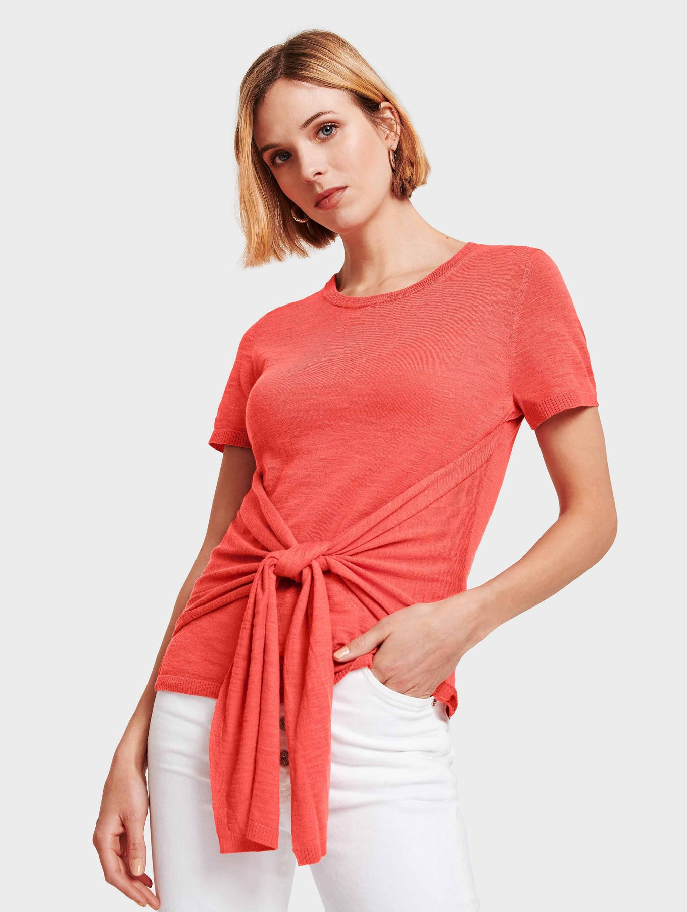 Cotton Slub Tie Front Tee - Rose - Image 1