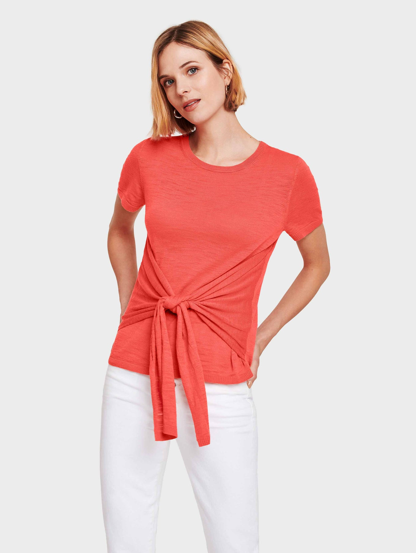 Cotton Slub Tie Front Tee - Rose - Image 2