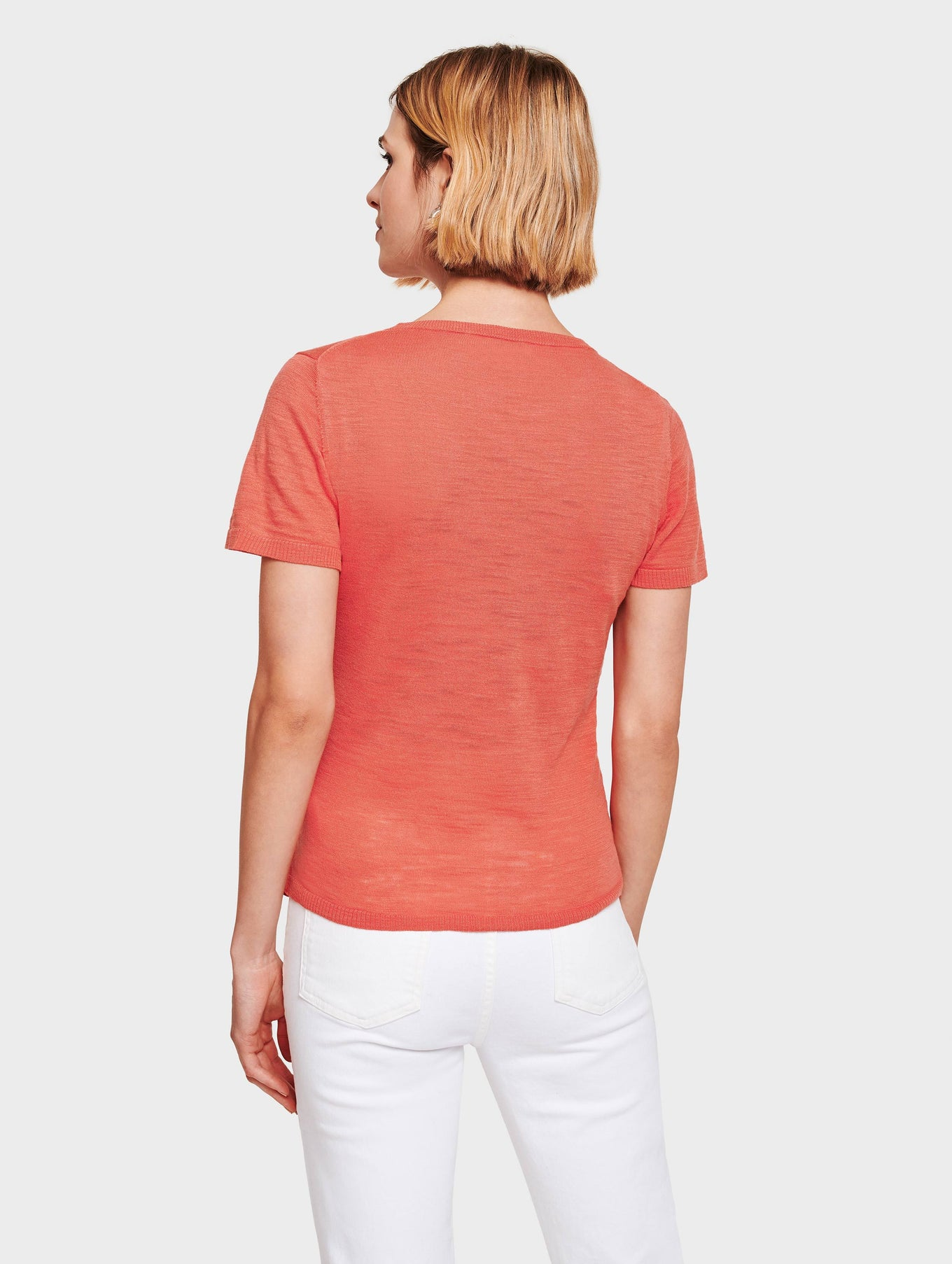 Cotton Slub Tie Front Tee - Rose - Image 3