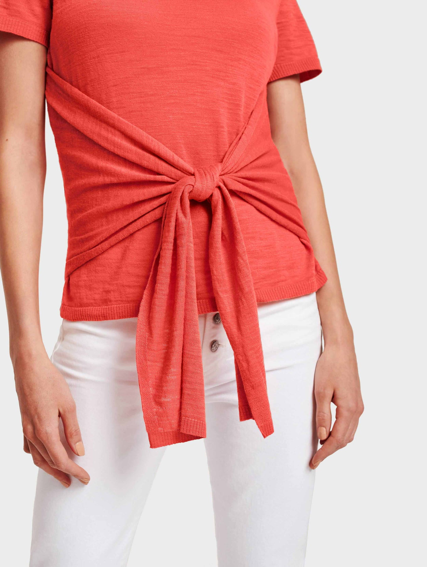 Cotton Slub Tie Front Tee - Rose - Image 4