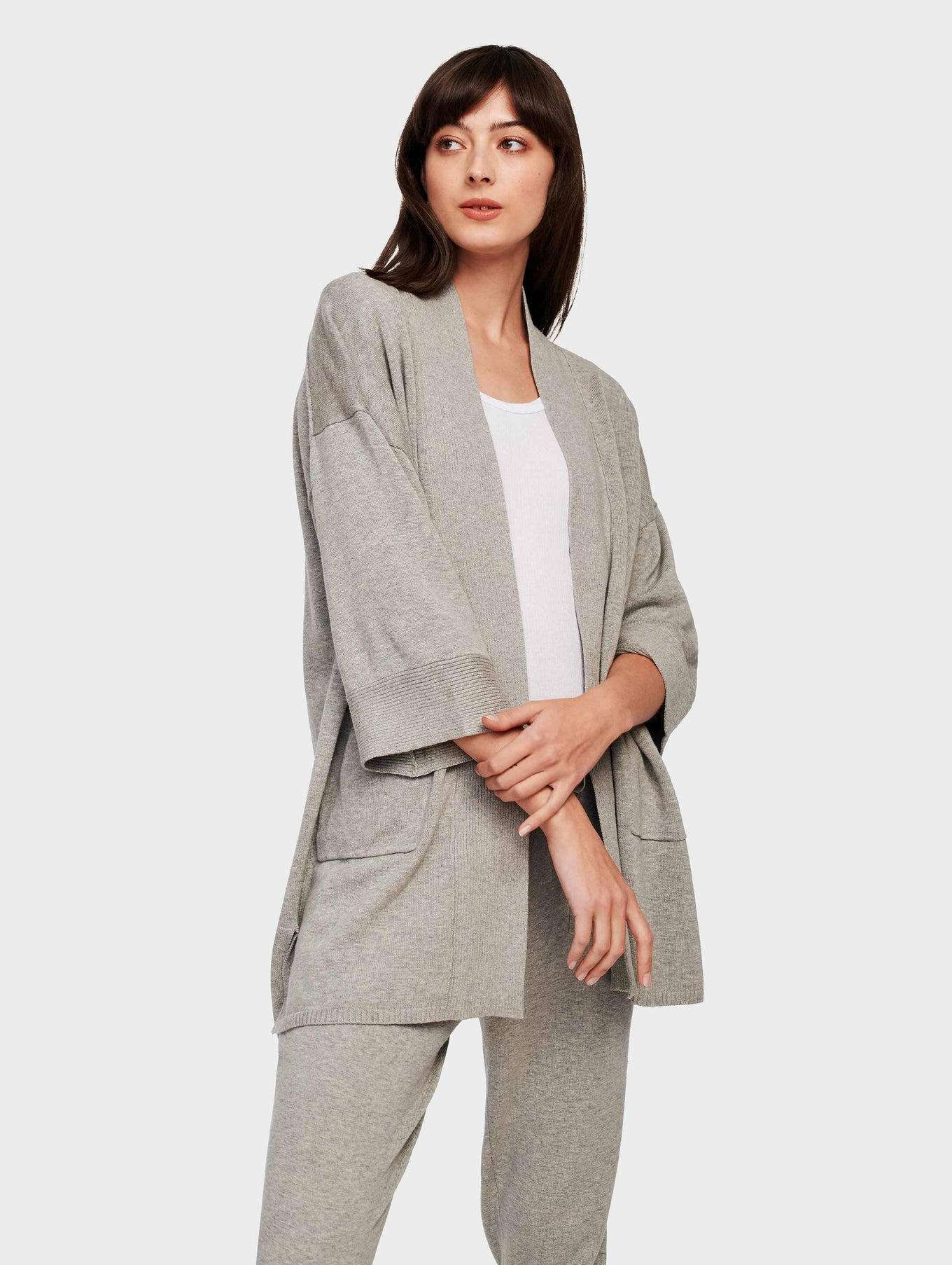 Organic Cotton Belted Rib Trim Cardigan - Grey Marble - Image 2