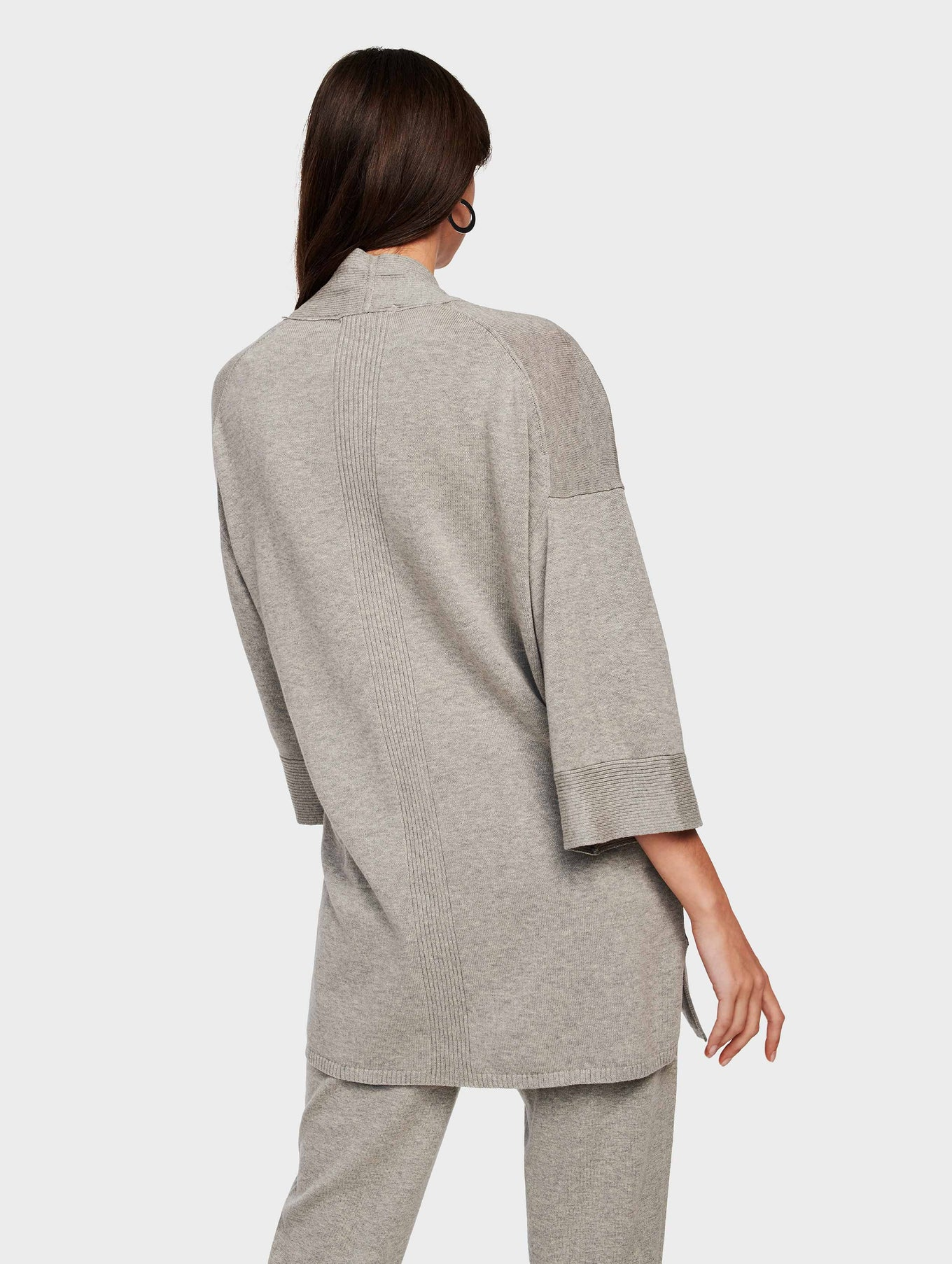 Organic Cotton Belted Rib Trim Cardigan - Grey Marble - Image 3