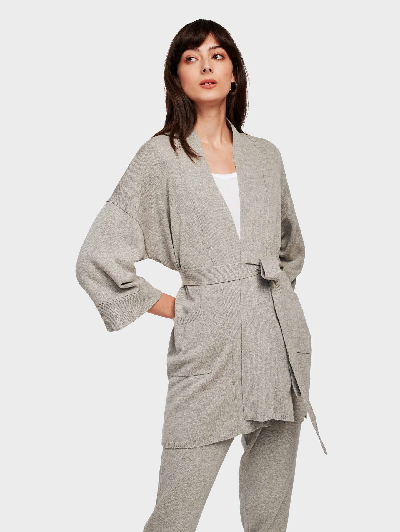 Organic Cotton Belted Rib Trim Cardigan - Grey Marble - Image 1