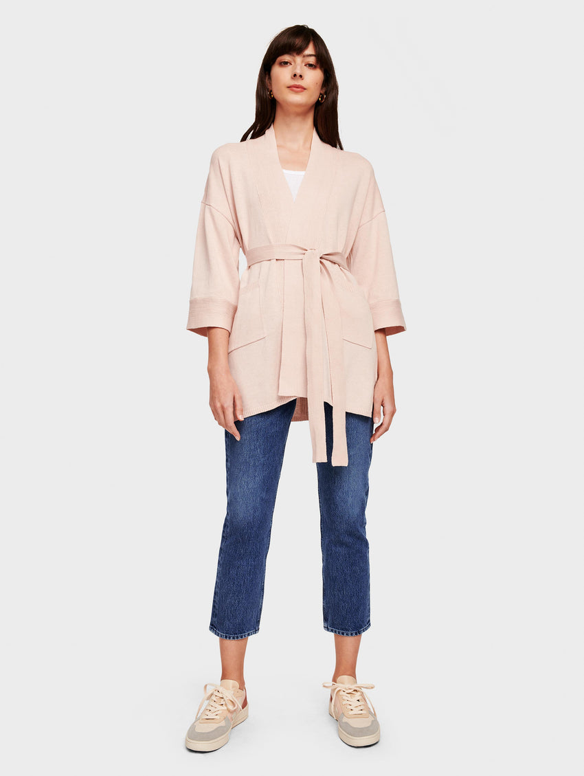 Organic Cotton Belted Rib Trim Cardigan - Rosewater Heather - Image 1