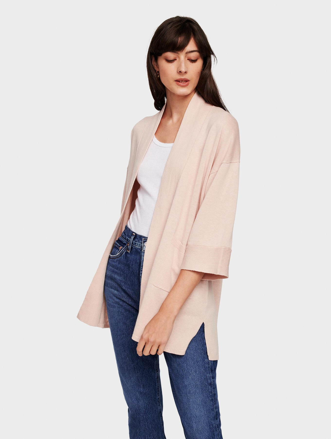 Organic Cotton Belted Rib Trim Cardigan - Rosewater Heather - Image 2