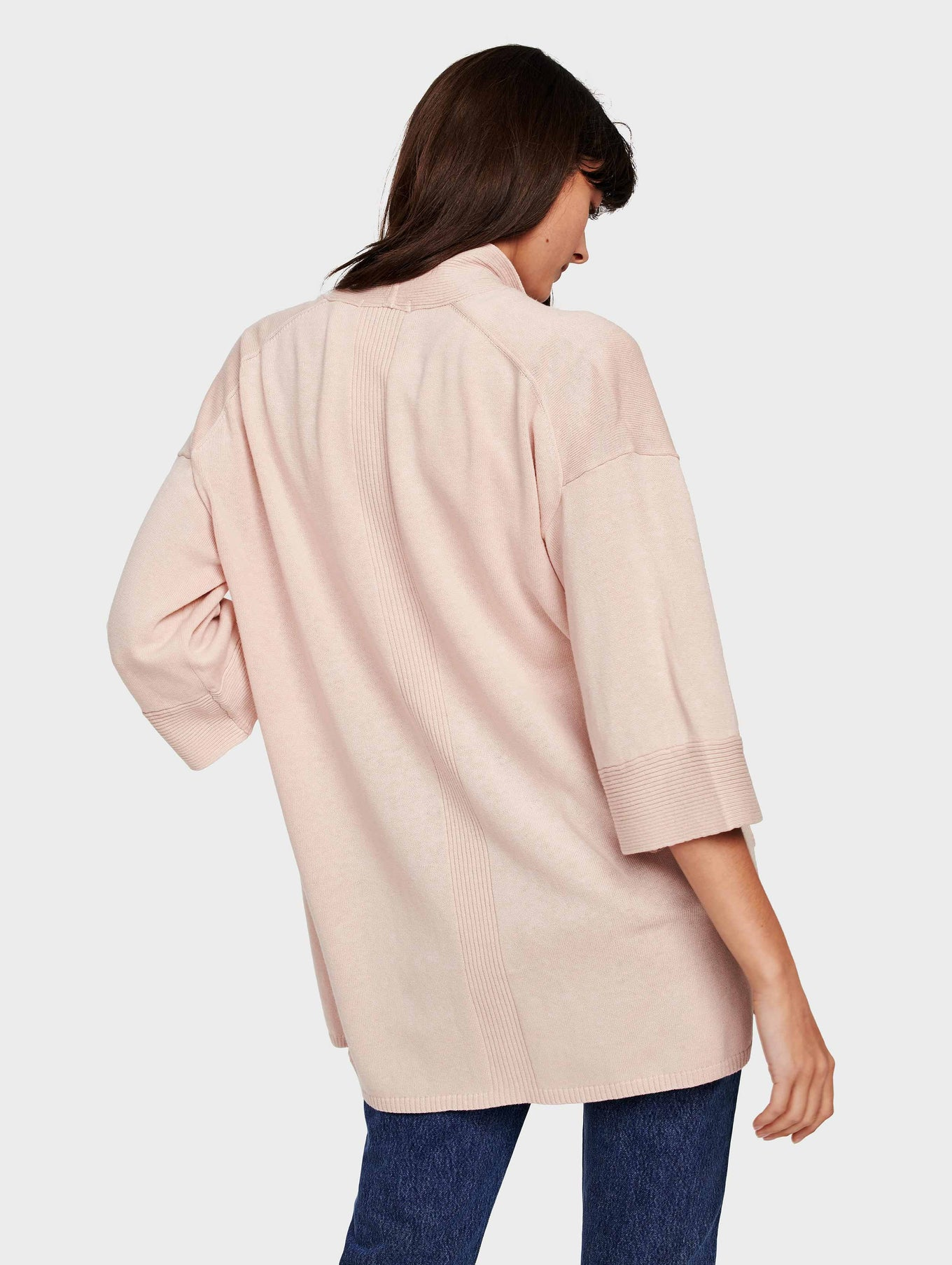 Organic Cotton Belted Rib Trim Cardigan - Rosewater Heather - Image 3