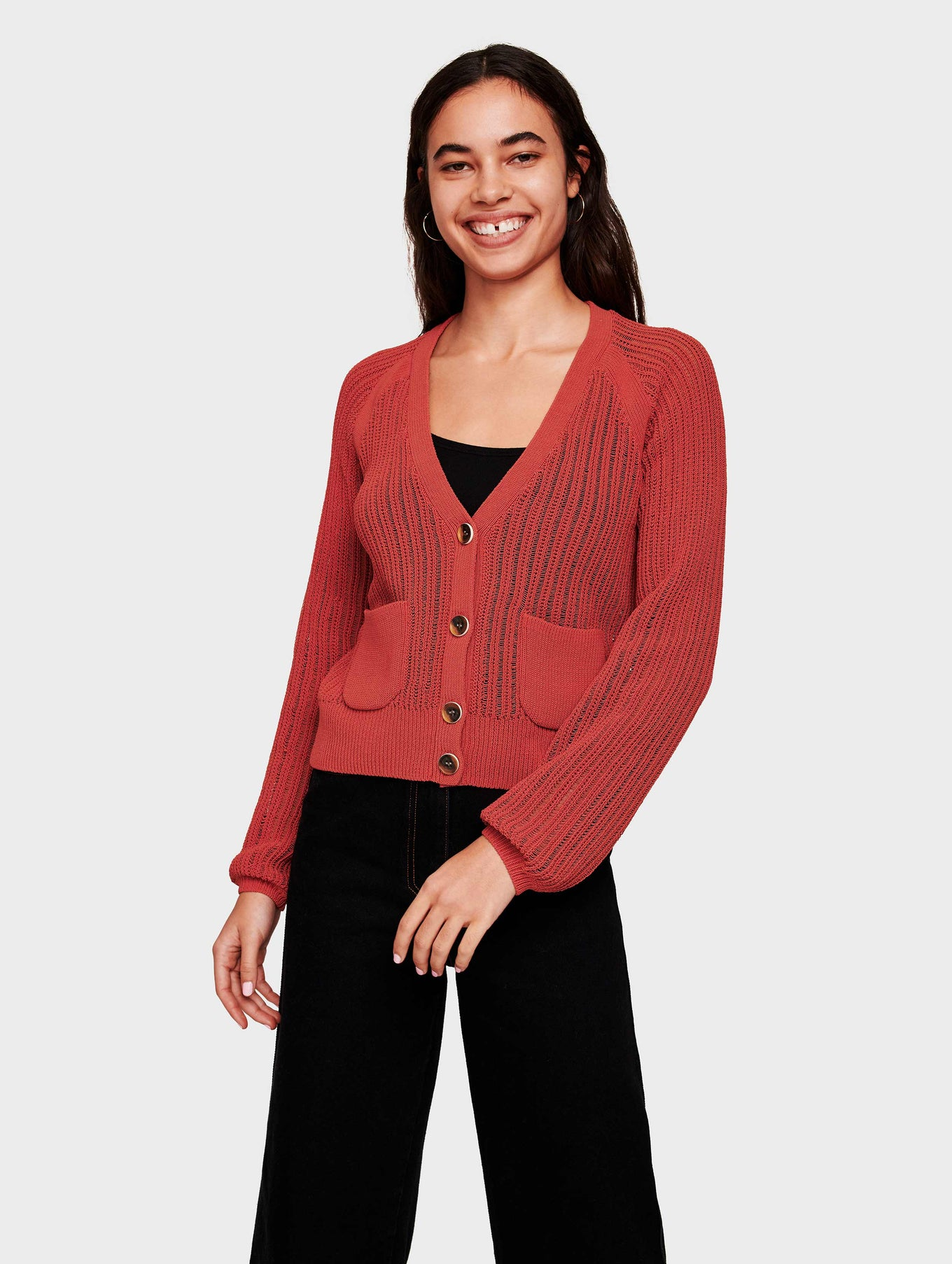 Corded Cotton Blouson Sleeve Cardigan - Auburn - Image 1