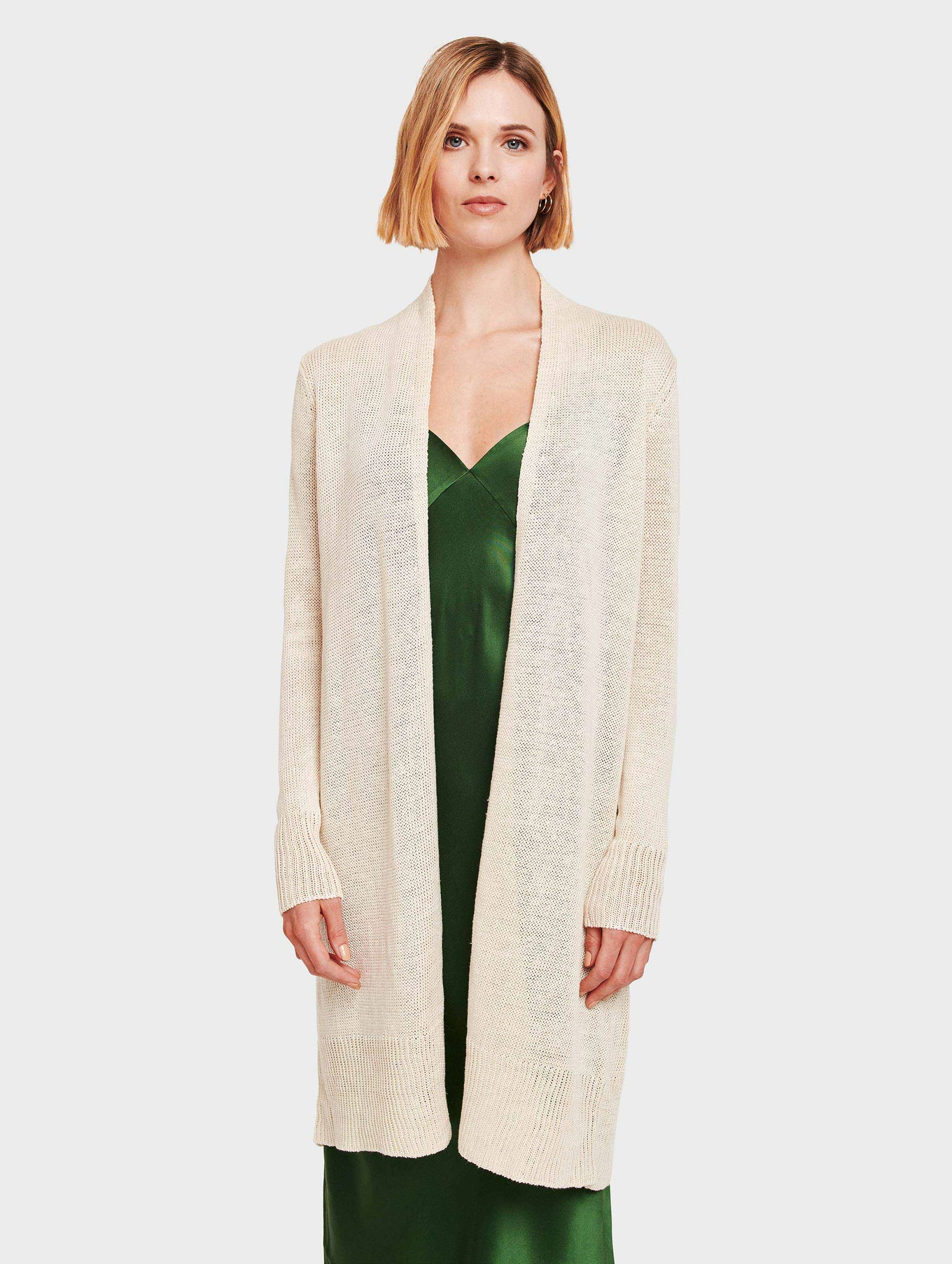 Corded Linen Long Open Cardigan - Ivory - Image 2