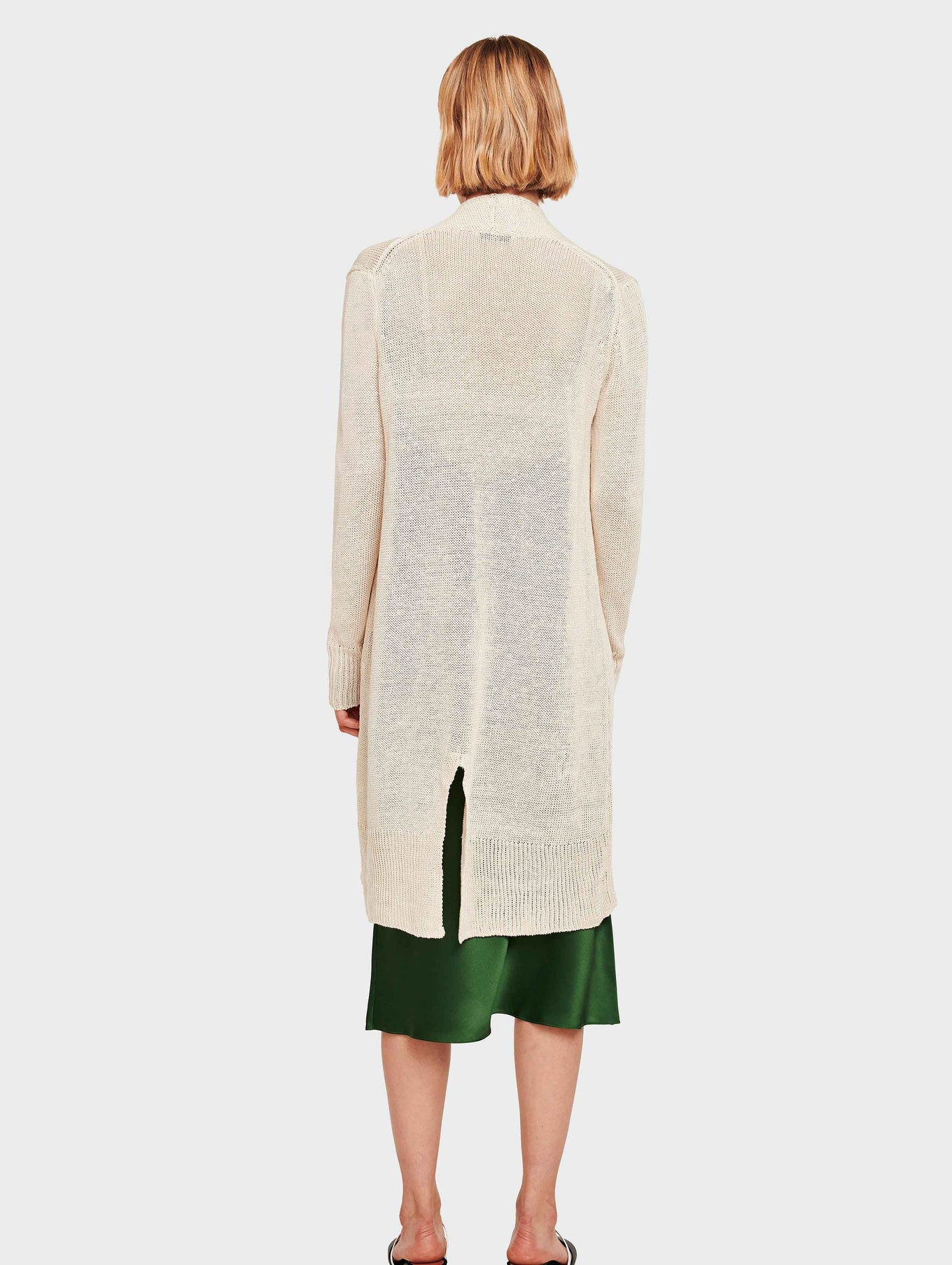Corded Linen Long Open Cardigan - Ivory - Image 3