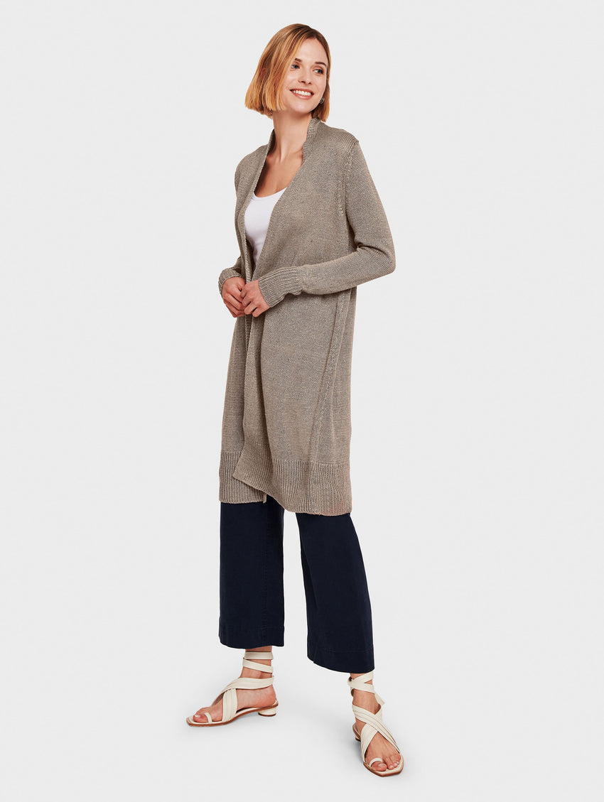 Corded Linen Long Open Cardigan - Taupe Heather - Image 1