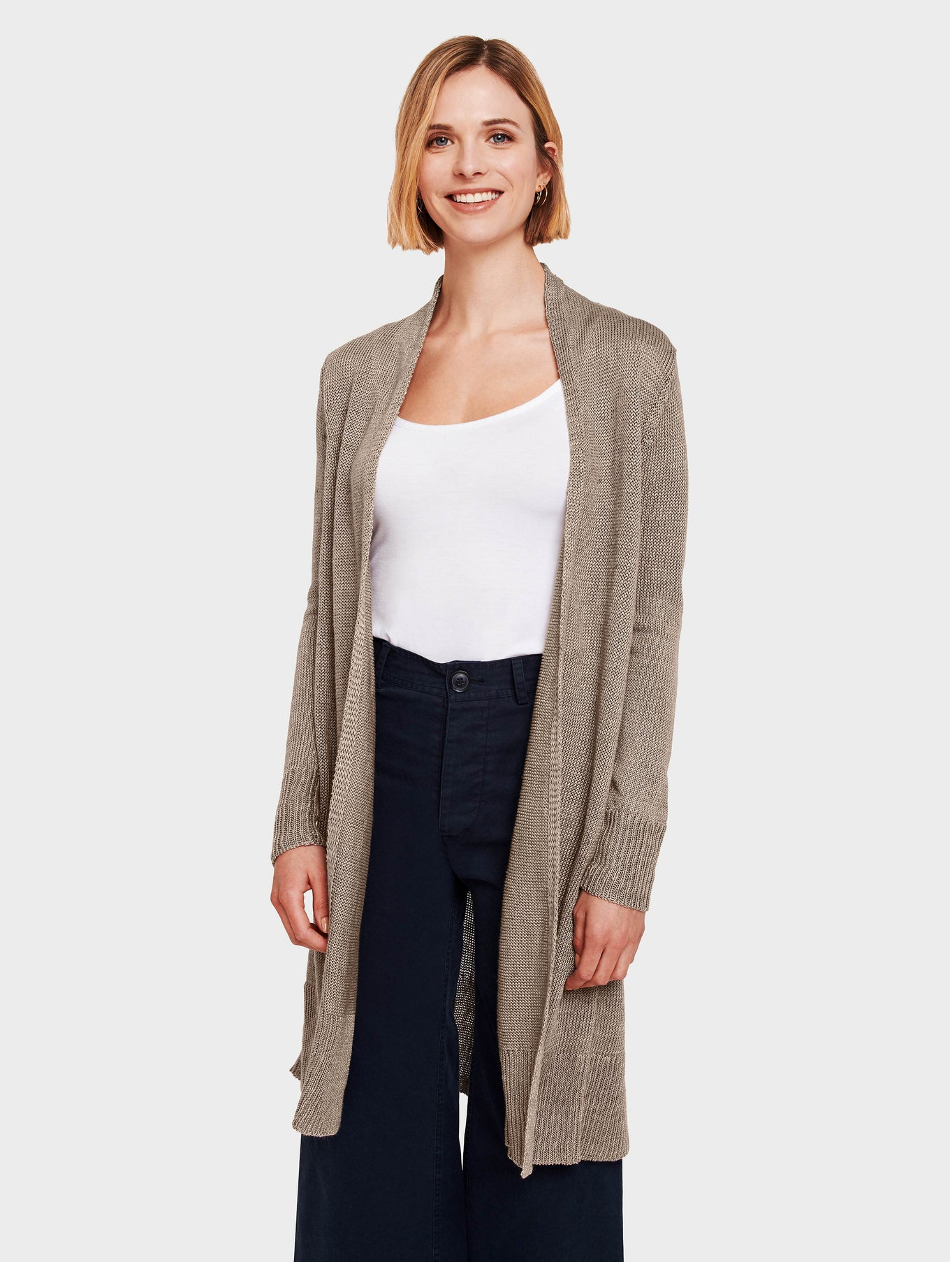 Corded Linen Long Open Cardigan - Taupe Heather - Image 2