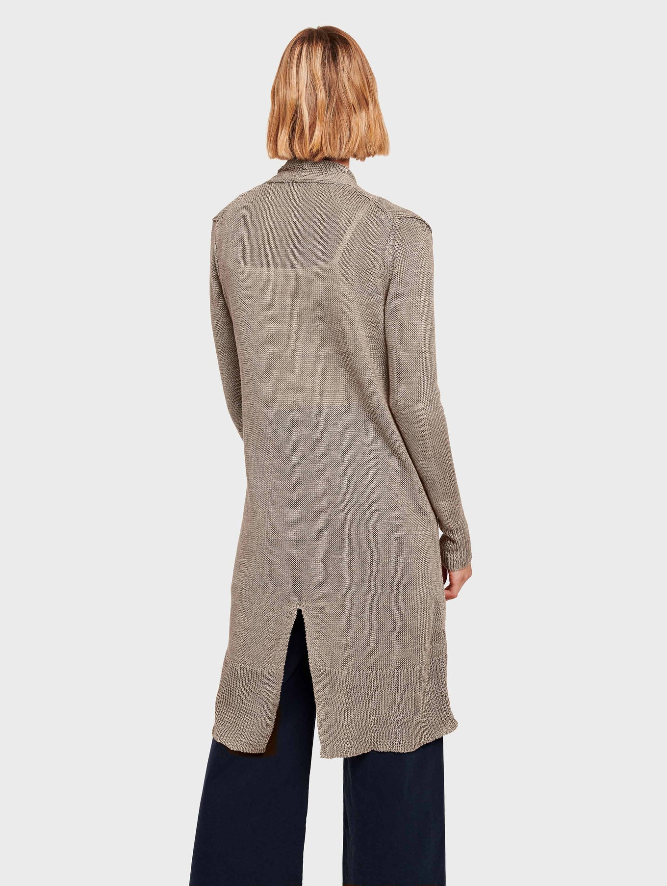 Corded Linen Long Open Cardigan - Taupe Heather - Image 3