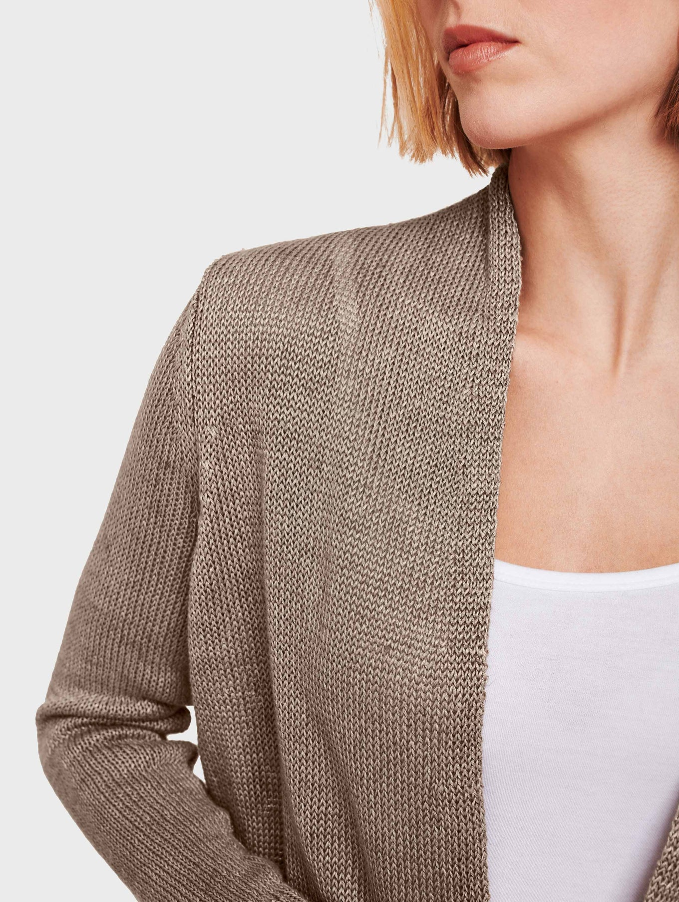 Corded Linen Long Open Cardigan - Taupe Heather - Image 4