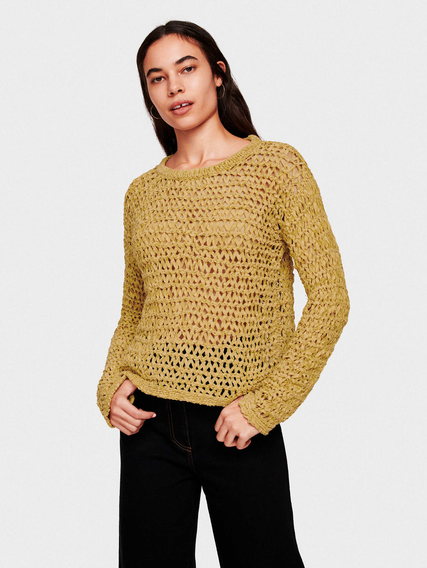 Cotton Tape Open Stitch Crewneck - Olivine - Image 1