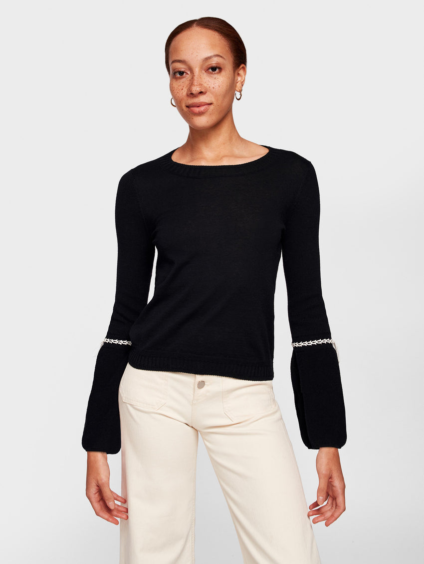 Lightweight Cotton Laced Cuff Crewneck - Black/White - Image 2