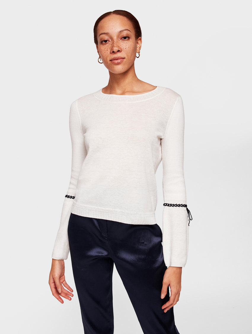 Lightweight Cotton Laced Cuff Crewneck - White/Black - Image 1