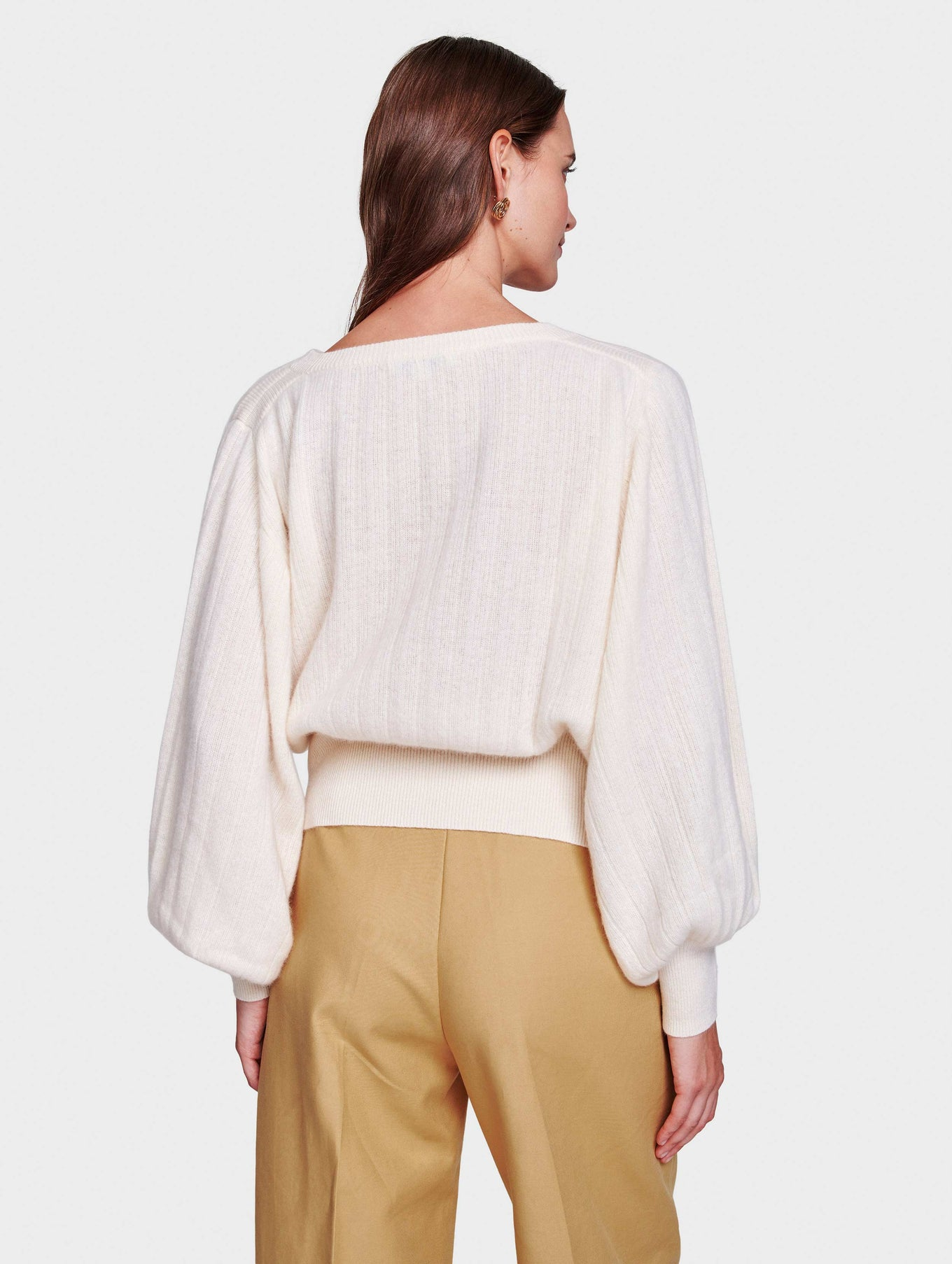 Cashmere Pleated Sleeve Crewneck