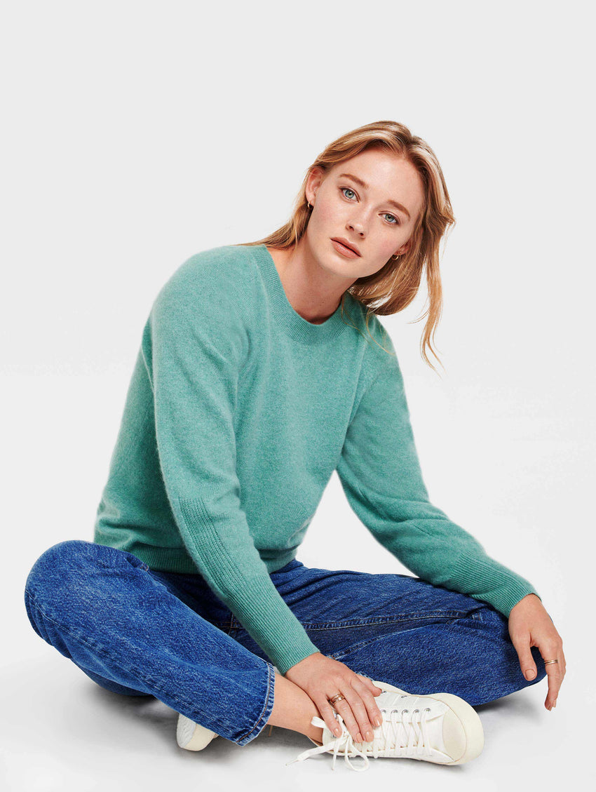 Cashmere Blouson Sleeve Crewneck - Dusty Jade Heather - Image 1