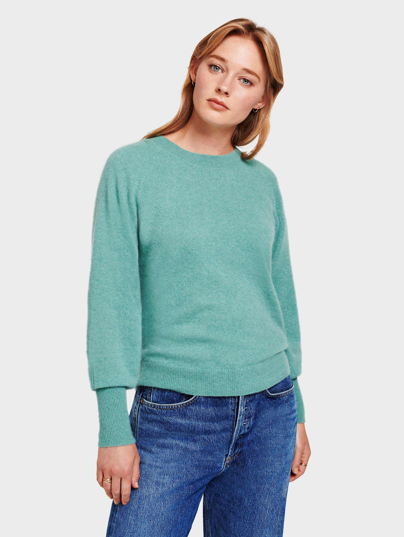 Cashmere Blouson Sleeve Crewneck - Dusty Jade Heather - Image 3
