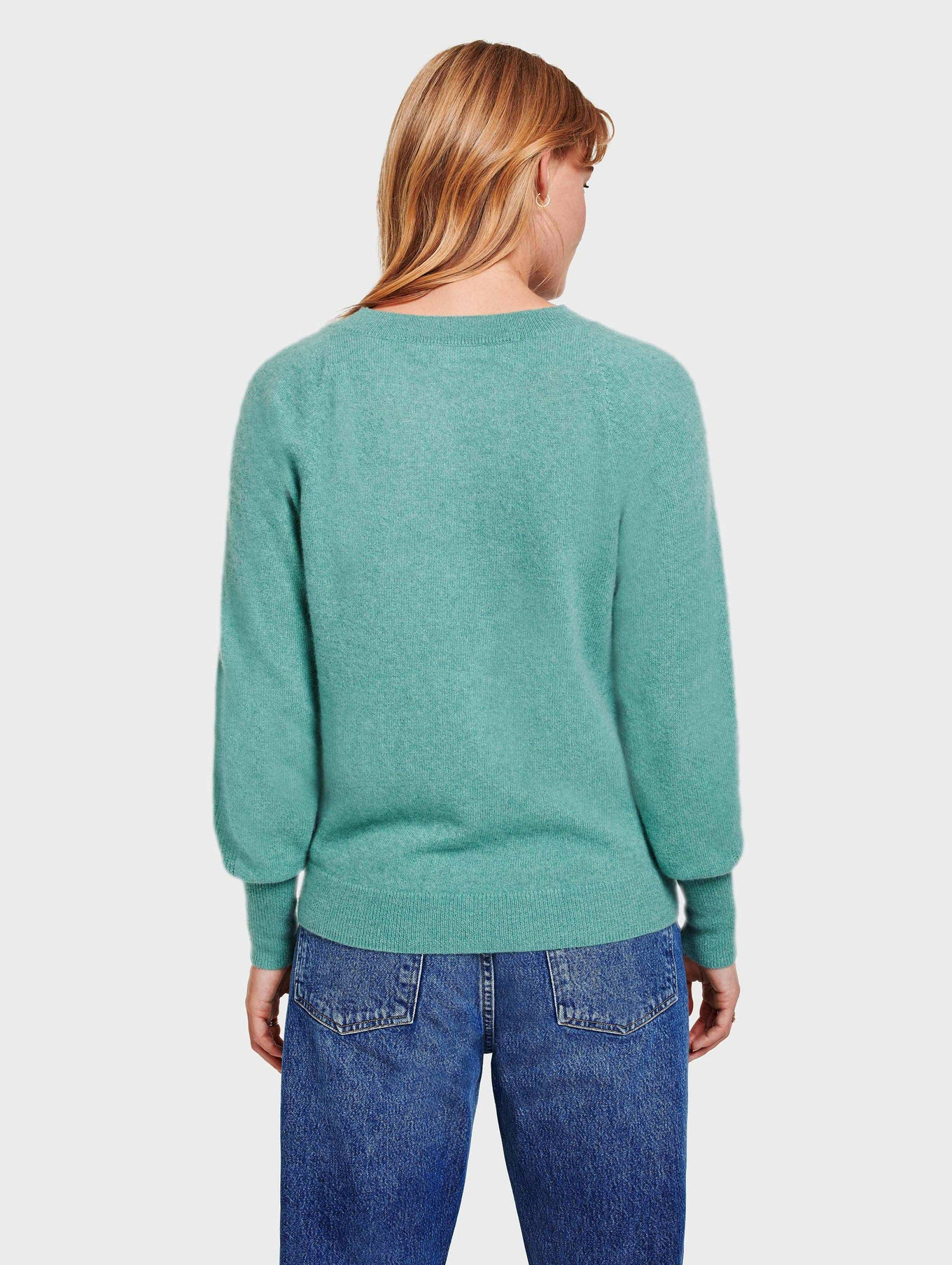 Cashmere Blouson Sleeve Crewneck - Dusty Jade Heather - Image 4