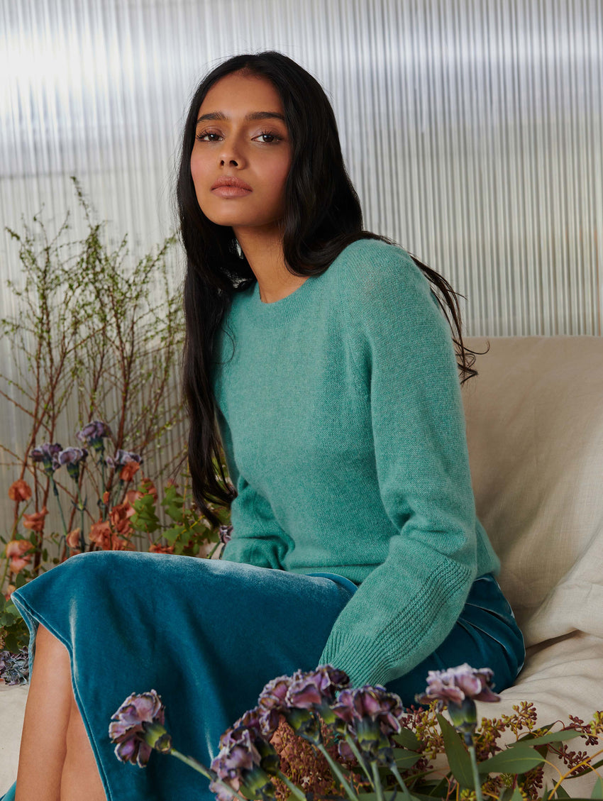 Cashmere Blouson Sleeve Crewneck - Dusty Jade Heather - Image 2