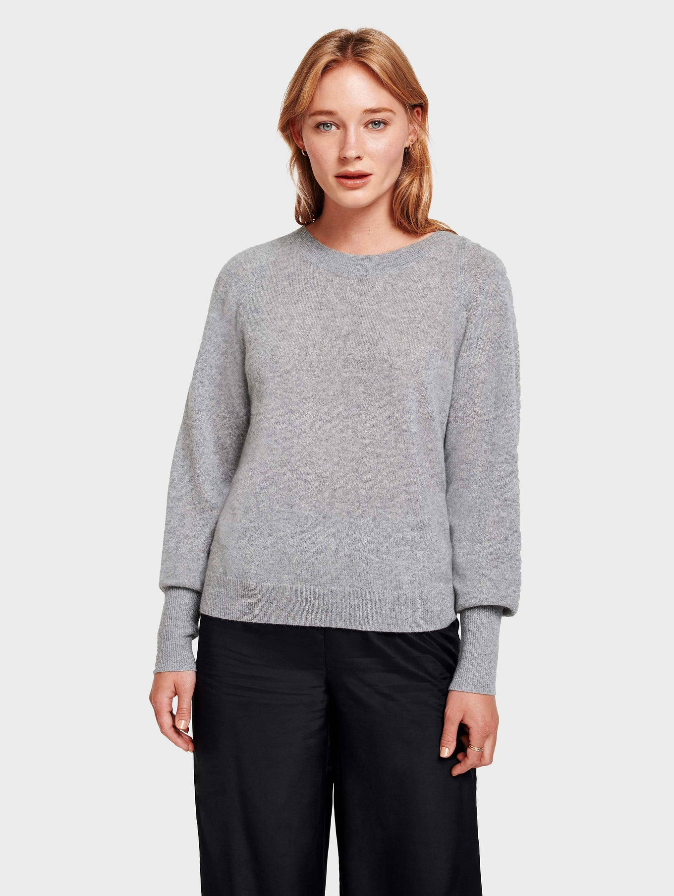 Cashmere Blouson Sleeve Crewneck - Grey Heather - Image 1
