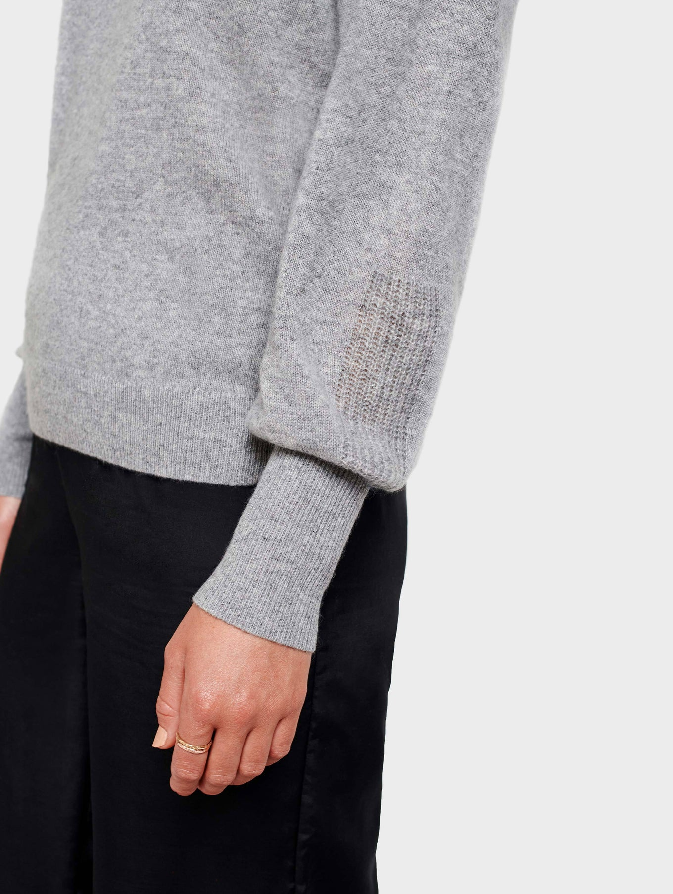 Cashmere Blouson Sleeve Crewneck - Grey Heather - Image 3