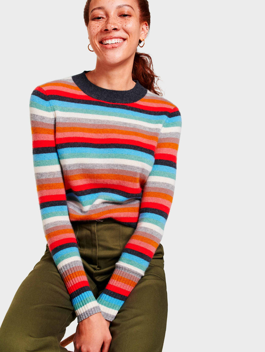 Cashmere Stripe Mockneck - Sunset Red Multi - Image 1