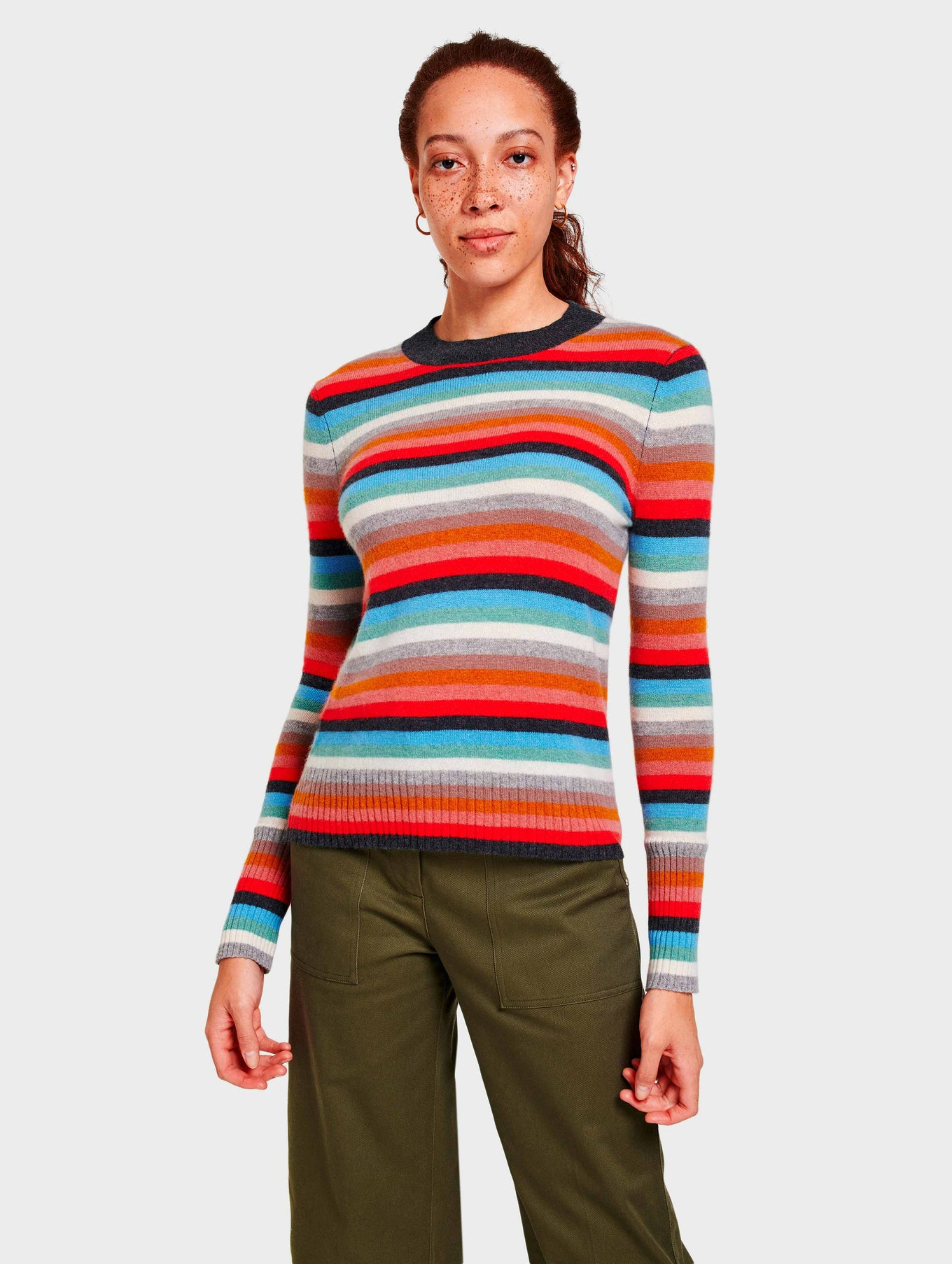 Cashmere Stripe Mockneck - Sunset Red Multi - Image 3