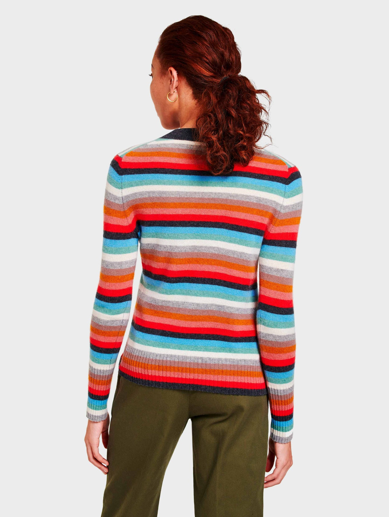 Cashmere Stripe Mockneck - Sunset Red Multi - Image 4