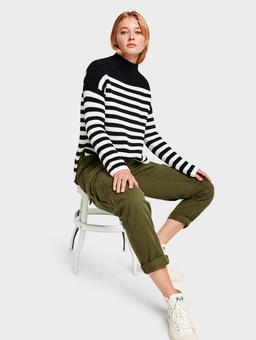 Cotton Rib Mockneck - Black/Ivory Stripe - Image 1
