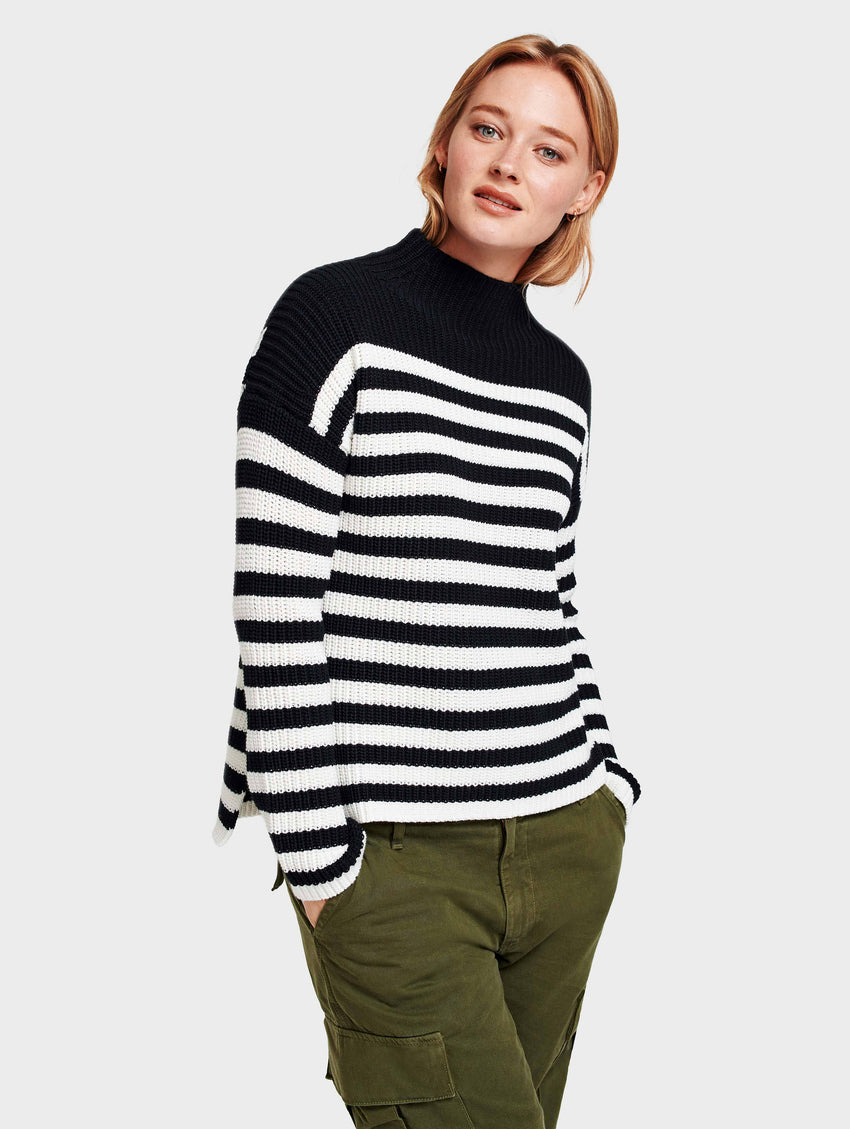 Cotton Rib Mockneck - Black/Ivory Stripe - Image 2