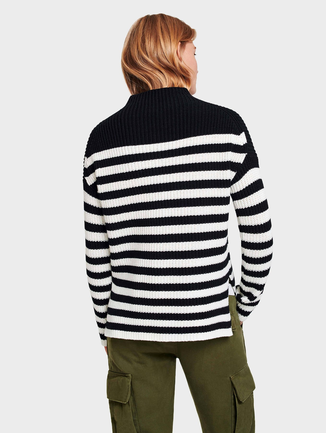 Cotton Rib Mockneck - Black/Ivory Stripe - Image 3