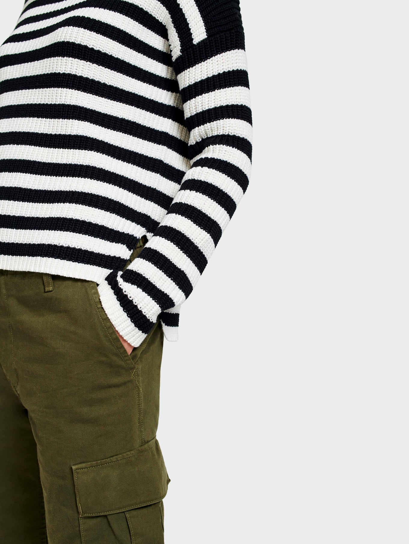 Cotton Rib Mockneck - Black/Ivory Stripe - Image 4