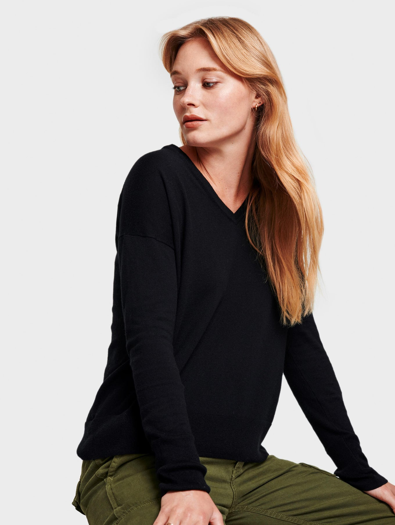 Drop Shoulder V Neck - Black - Image 2