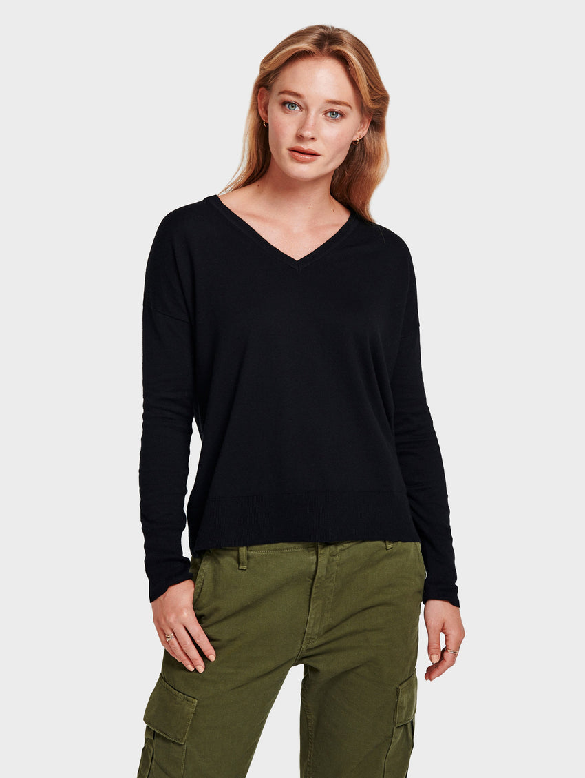Drop Shoulder V Neck - Black - Image 1