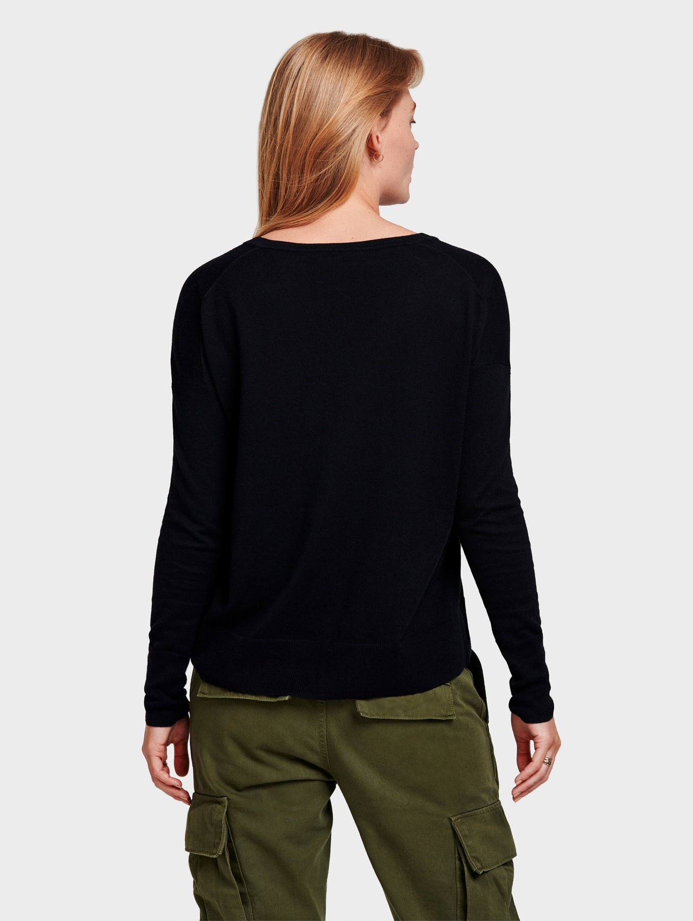 Drop Shoulder V Neck - Black - Image 3