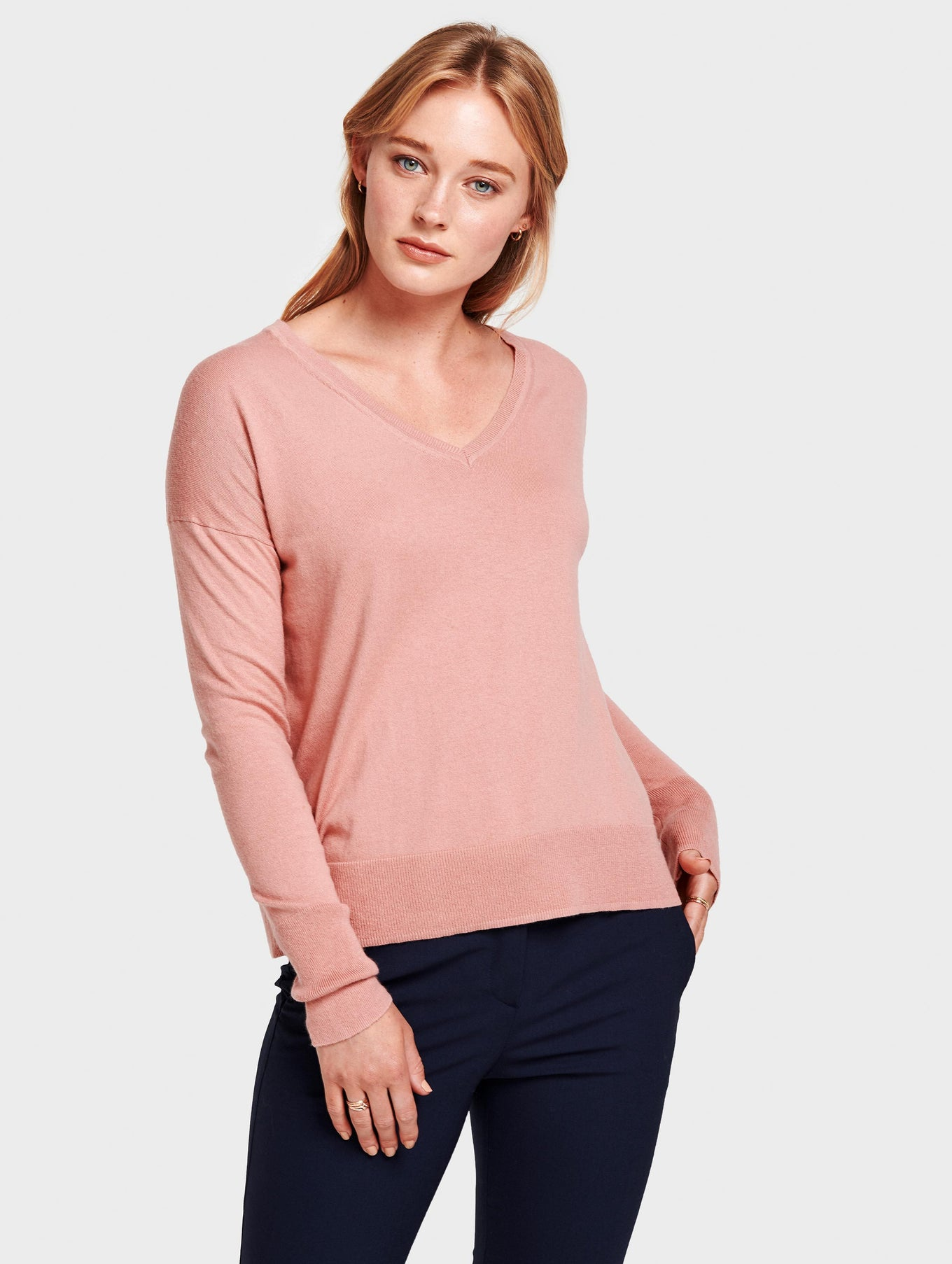 Drop Shoulder V Neck - Canyon Rose Heather - Image 3