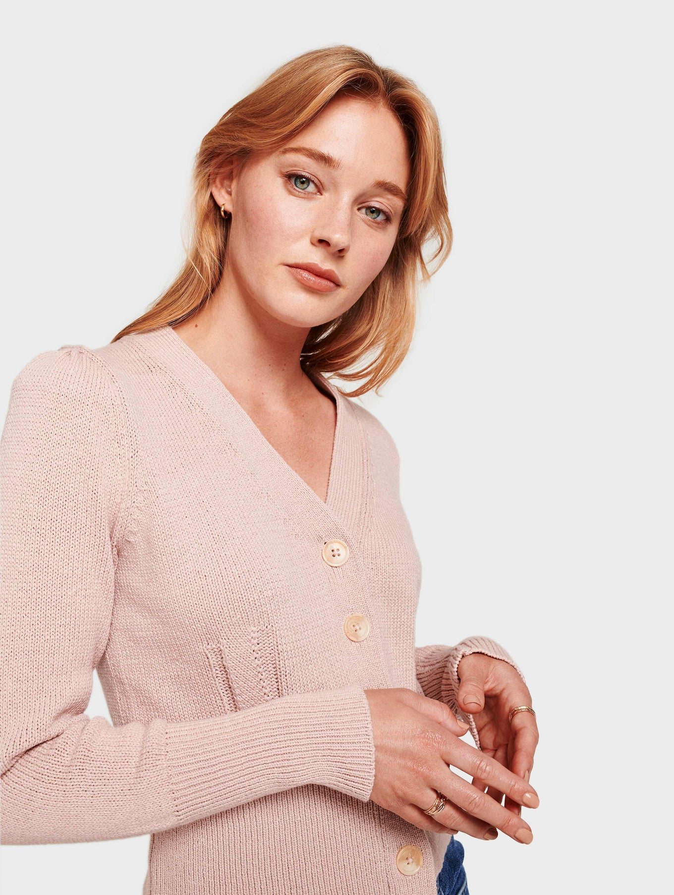 Cotton Puff Shoulder Cardigan - Pink Topaz - Image 1