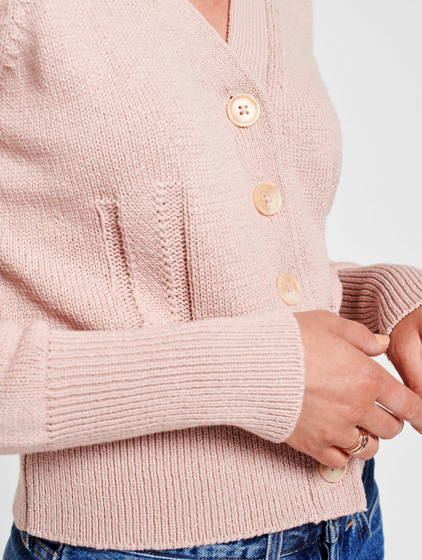 Cotton Puff Shoulder Cardigan - Pink Topaz - Image 5