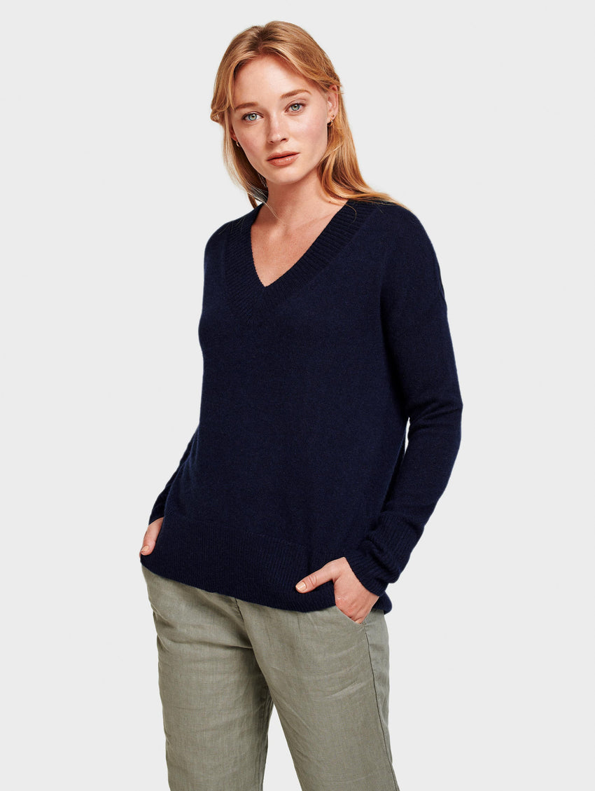 Cashmere Wide Rib V Neck - Deep Navy - Image 1