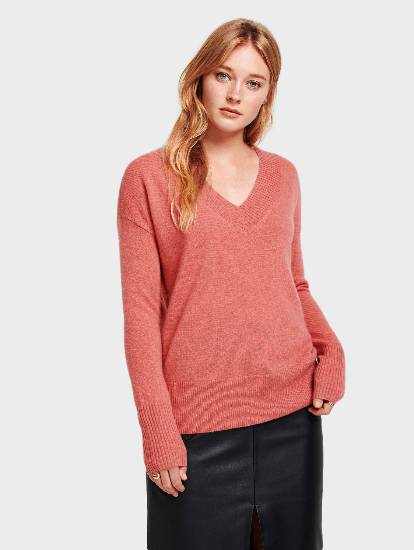 Cashmere Wide Rib V Neck - Pink Opal Heather - Image 3