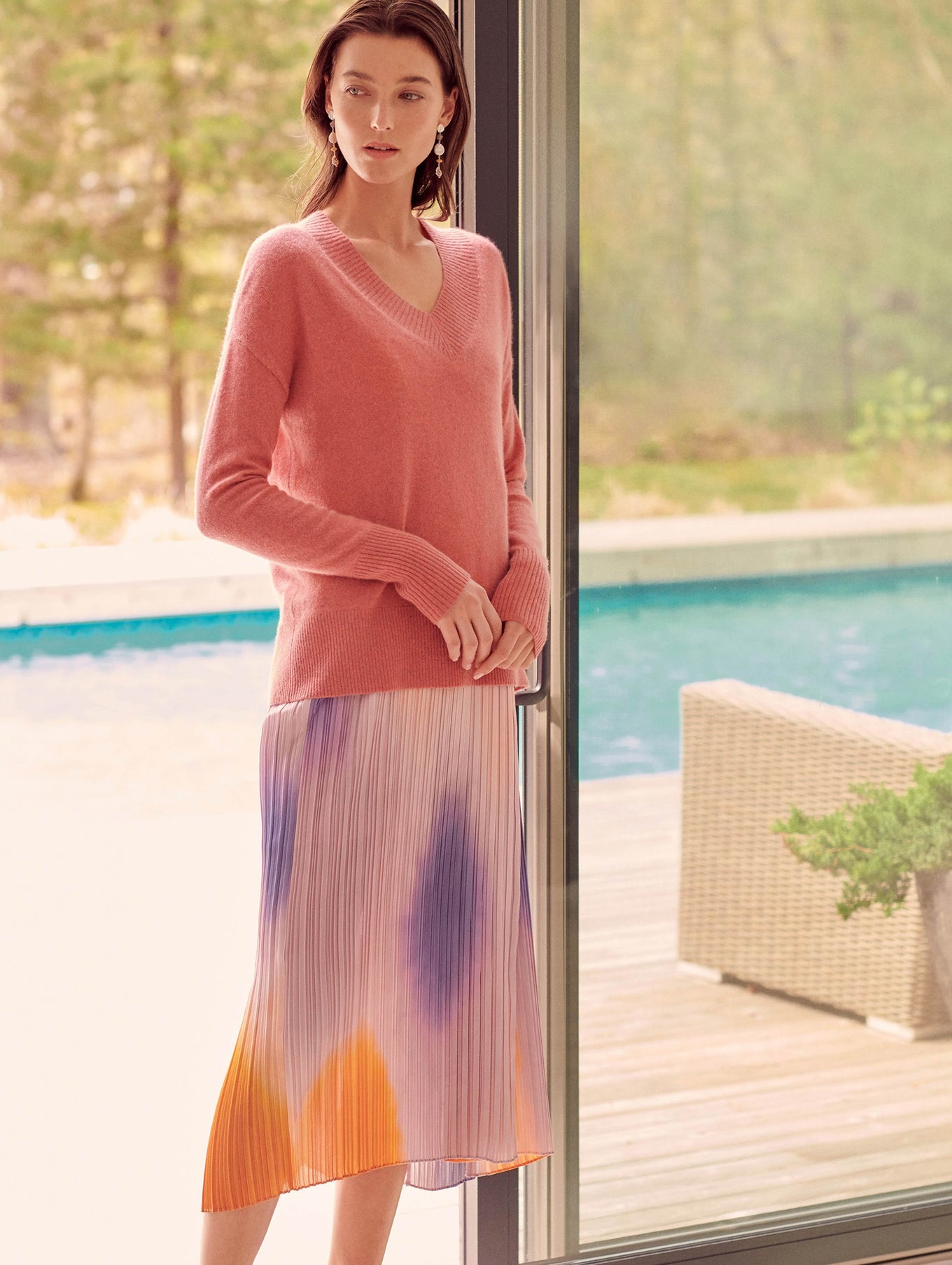 Cashmere Wide Rib V Neck - Pink Opal Heather - Image 2