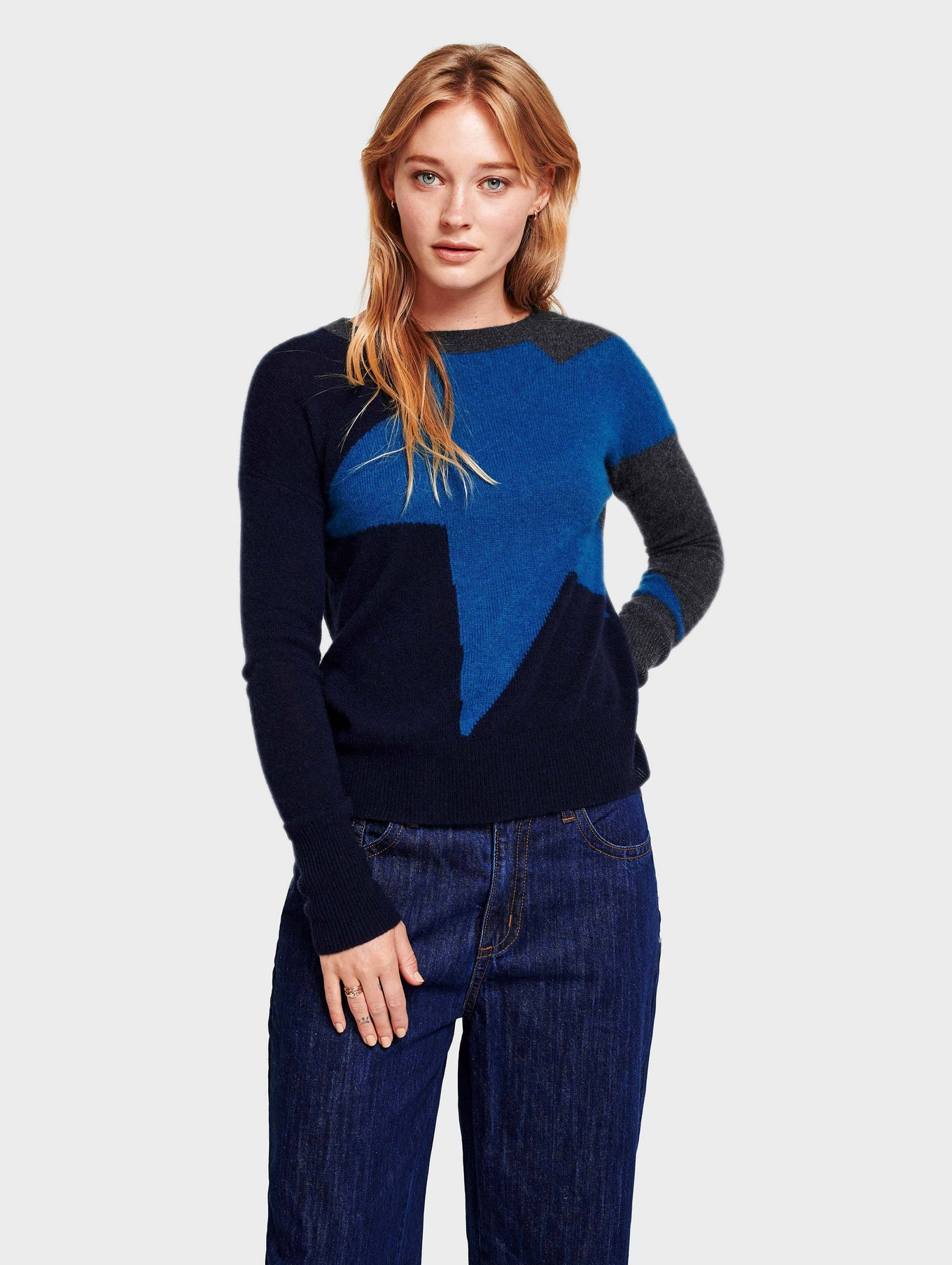 Cashmere Exploded Star Crewneck - Cosmic Teal Multi - Image 1
