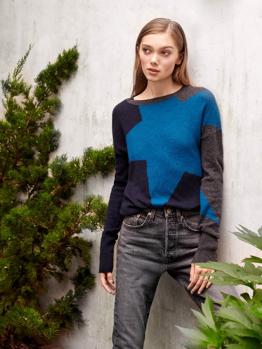 Cashmere Exaggerated Star Crewneck